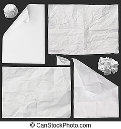 set of white crumpled paper background texture on dark