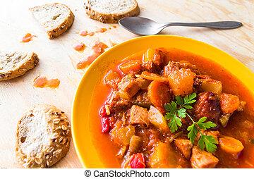 stew zucchini stewed vegetables meat food meal vintage