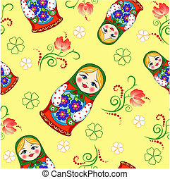 Seamless Russian doll - simplex doll on a yellow background