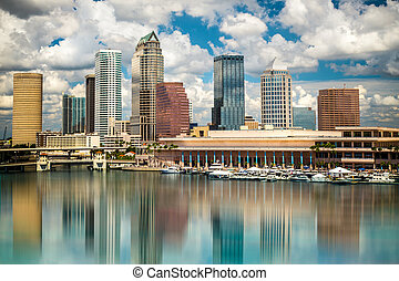 Tampa Florida Skyline - Tampa Florida skyline with sun,...