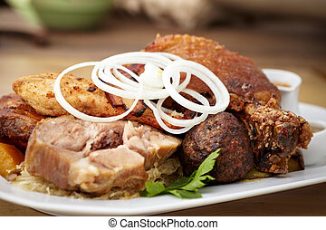 Meat feast - Bacon, grilled beef, pork knuckle, sauerkraut,...