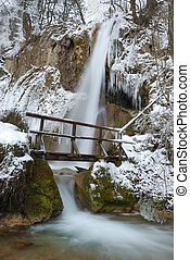 Winter Waterfall - Waterfall with icicles and snow around...