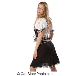 beautiful woman in tiroler outfit - very beautiful caucasian...
