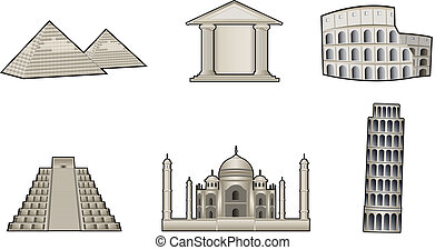 World famous landmark and monuments vector illustration