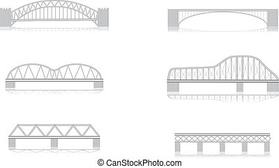 various bridge grayscale vector illustrations with shadows