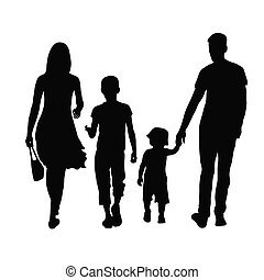 parents and children - Silhouette of parents and children