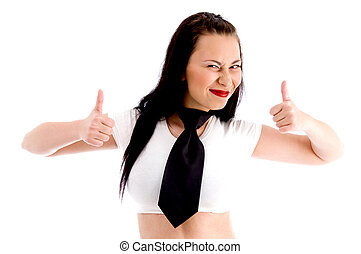 fashionable gorgeous female showing thumbs up on an isolated...