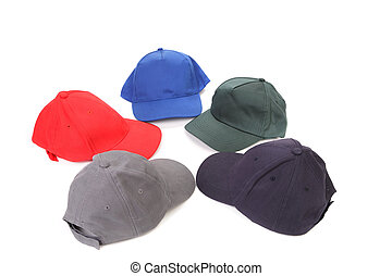 Working peaked caps Isolated on a white background