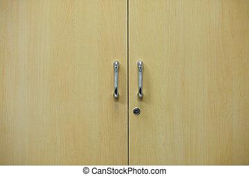 Wood door with handle