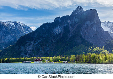 Koningsee lake and St Bartholomews Church, Germany -...