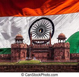Red Fort (Lal Qila) against Indian national flag. Delhi,...