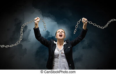Aggressive businesswoman - Image of businesswoman in anger...