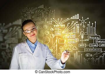 Young researcher - Young woman researcher in medical uniform...