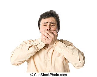 I won\'t tell you - A man covering his mouth with hands