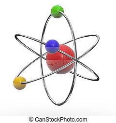 3d orbital atom - 3d illustration of orbital atom on white...