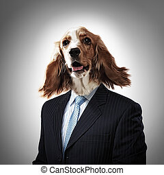 Funny portrait of a dog in a suit