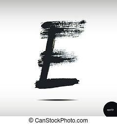 Calligraphic watercolor letter E