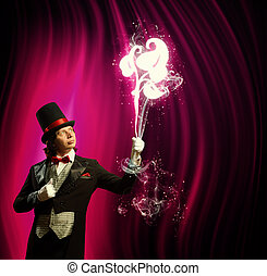 Magician in hat - Image of man magician showing trick...