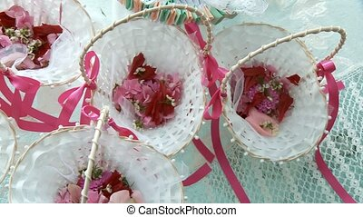 Wedding Flower Basket - video footage of flower baskets for...