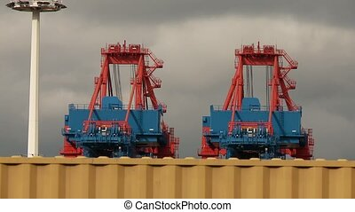 Container Terminal, Hamburg - video footage of containers in...
