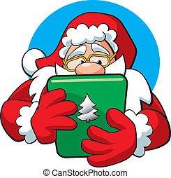 Santa Claus With A Tablet - A vector illustration of Santa...