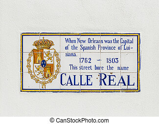 old street name Calle Real painted on tiles in the French quarter in New Orleans