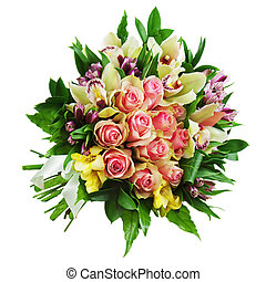 Floral bouquet of roses, lilies and orchids arrangement...