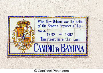 old street name Camino de Bayona painted on tiles in the...