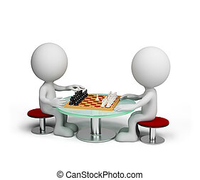 Game of chess - Two person playing chess. 3D image. White...