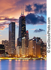 Chicago skyline - Image of Chicago downtown skyline during...