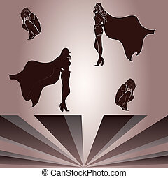 Elements for crouched woman and superheroine's shadow -...