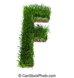 Grass letter F - A 3D rendering of an upper case F in grass