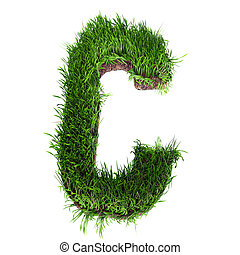 Grass letter C - A 3D rendering of an upper case C in grass