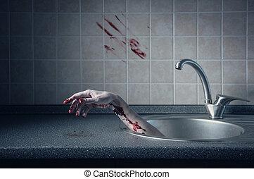 Bloody hand in kitchen sink - Bloody hand in kitchen sink,...