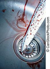 sangriento, cuchillo, cocina, fregadero