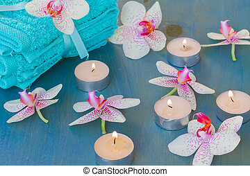 spa event with  burning  candles
