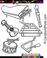 Karikatúra, zene, műszerek, színezés,...