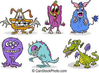 cartoon monsters illustration set - Cartoon Illustration of...