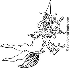 witch cartoon for coloring book - Black and White Cartoon...