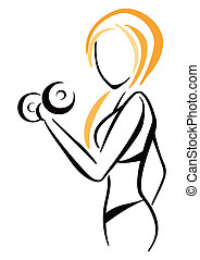 Fitness symbol - Attractive slim woman workout with dumbbell