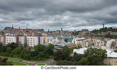 Edinburgh, Scotland - Edinburgh Cityscape hyper lapse in...