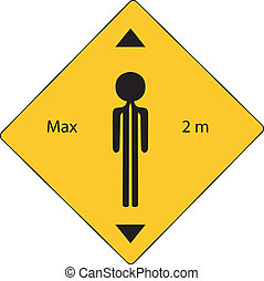 raod sign with max two meter - yellow road sign with maximun...