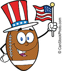 Football Ball With Patriotic Hat
