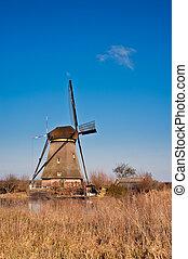 schöne, Windmühle,  kinderdijk, landschaftsbild