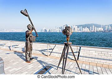 Avenue of stars - HONG KONG, CHINA - FEBRUARY 21: Statues...