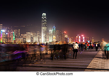 Avenue of stars - HONG KONG - FEBRUARY 21: View to Victoria...