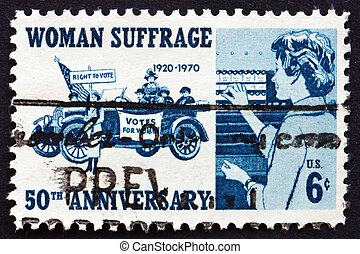 Postage stamp USA 1970 Suffragettes, 1920 and Voter, 1970 -...
