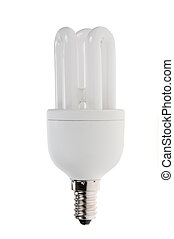 Compact fluoresent lamp (CFL), isolated on a white...