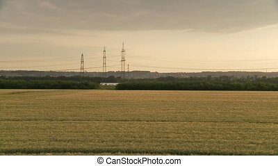 Landscape with power poles