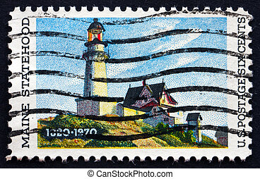 Postage stamp USA 1970 Lighthouse at Two Lights, Maine -...